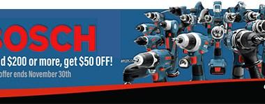 Bosch 50 off $200 at Ohio Power Tool