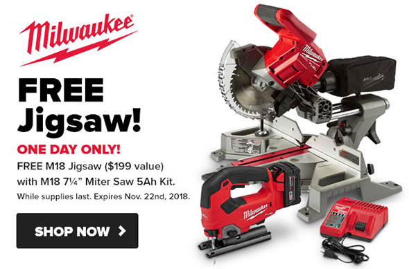 Milwaukee M18 Fuel Miter Saw with Free Jig Saw Tool Nut Thanksgiving 2018 Offer
