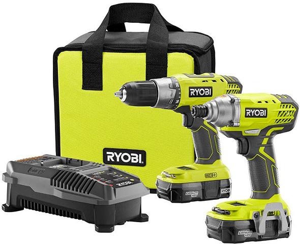 Ryobi P1832 Black Friday 2018 Cordless Drill and Impact Driver Combo Kit Deal