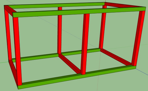 My Journey To An Organized Shop - Sketchup basic shell with color coding