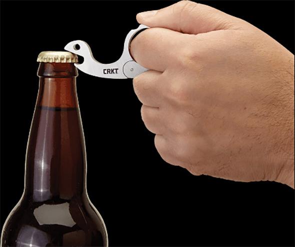 CRKT Snailor Bottle Opener Opening a Bottle