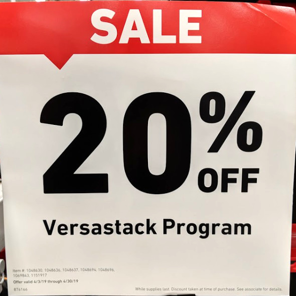 Versastack Sales Promo Sign