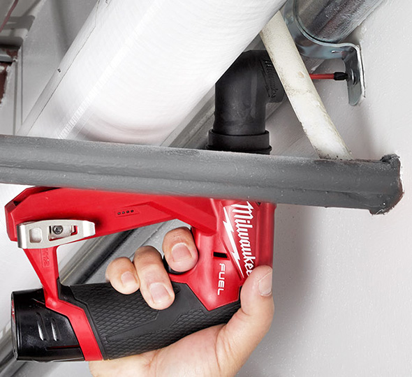 Milwaukee M12 Fuel Cordless Installation Drill Driver Tool Reaching Around Pipes