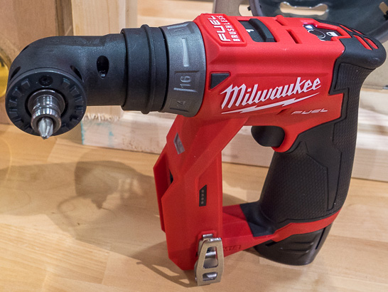 Milwaukee M12 Fuel Cordless Installation Drill Driver Tool with Right Angle Chuck Side View