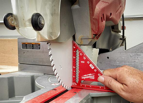 New Milwaukee Trim Square MLSQ040 Used to Calibrate Miter Saw Blade