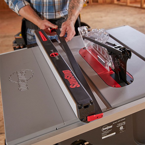 SawStop Jobsite Saw Pro Table Saw Fence Low Support Feature