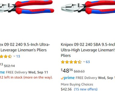 Knipex Hand Tool Model Number SBA Packaging Differences