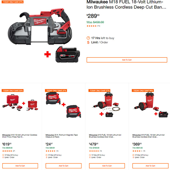 Milwaukee Tool Deals of the Day at Home Depot 9-10-19 Page 1