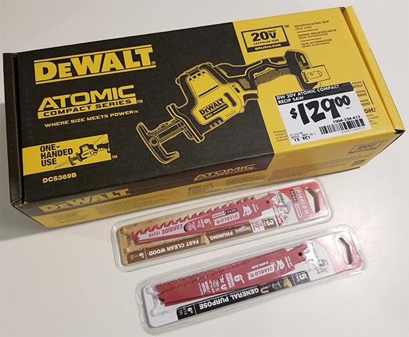 Dewalt Atomic DCS369B One-Handed Cordless Reciprocating Saw with Diablo Blades