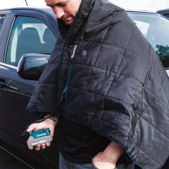 Makita Cordless Heated Jacket DCB200A Worn Over Shoulders