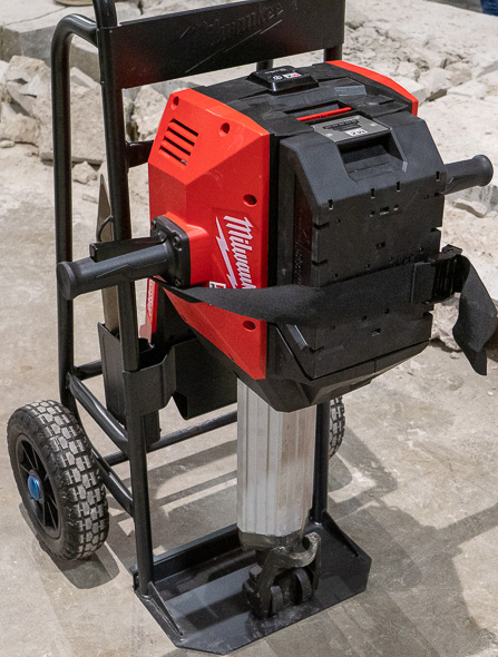 Milwaukee MX Fuel Cordless Concrete Breaker Hammer on Stand