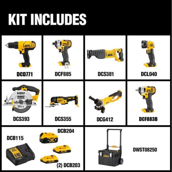 Dewalt DCKTS882D2M1 Cordless Power Tool Combo Kit Contents