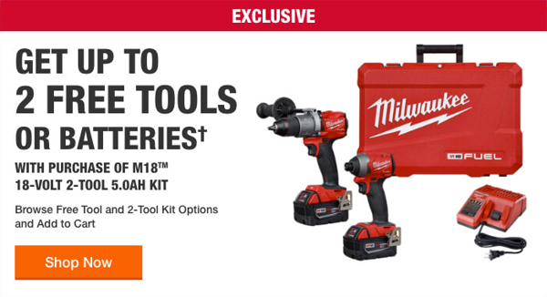Home Depot Free Power Tools 2019 Promotion Milwaukee Free Two Tools