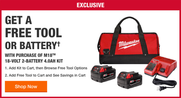 Home Depot Free Power Tools 2019 Promotion Milwaukee Single Free Tool