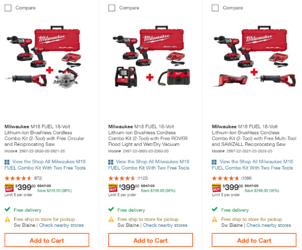 Home Depot Free Tools 2019 Holiday Sale Milwaukee Tier 2 choices