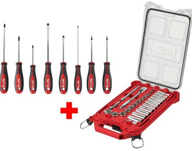 Milwaukee Mechanics Tool Set with Packout Case and Screwdriver Assortment Bundle