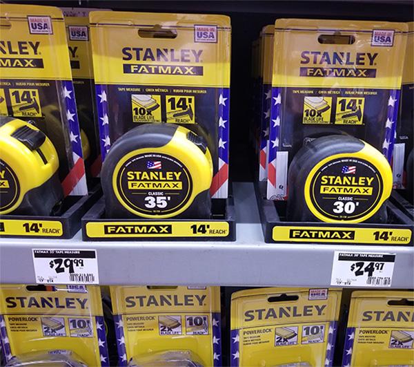 Stanley Tape Measure Display at Home Depot November 2019