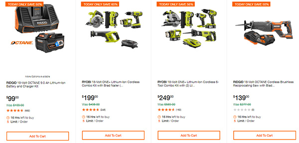 Home Depot Cordless Power Tool Deals of the Day 12-3-19 Page 2