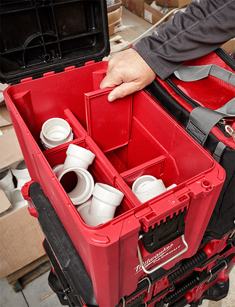 Milwaukee Packout Compact Tool Box 48-22-8422 Removable Dividers and Holding PVC Pipe Fittings