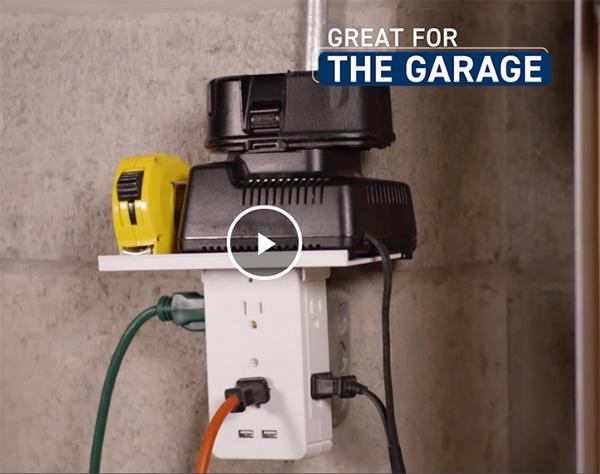 Socket Shelf Outlet Adapter Sharper Image Garage Use Application