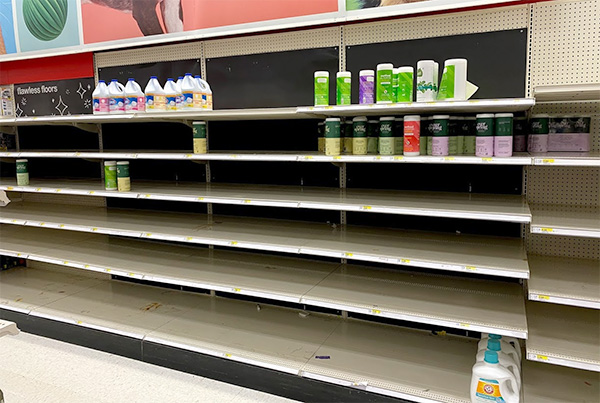 Target Cleaning Wipes Empty Shelves