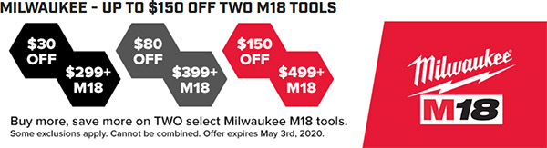 Tool Nut Buy More Save More Milwaukee Cordless Power Tools Deal 3-3-2020