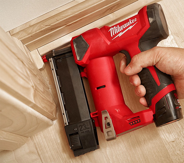 Milwaukee M12 Fuel Cordless Pin Nailer Used in Trim