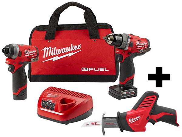 Milwaukee M12 Fuel Drill and Impact Driver Combo Kit with Bonus Hackzall Saw