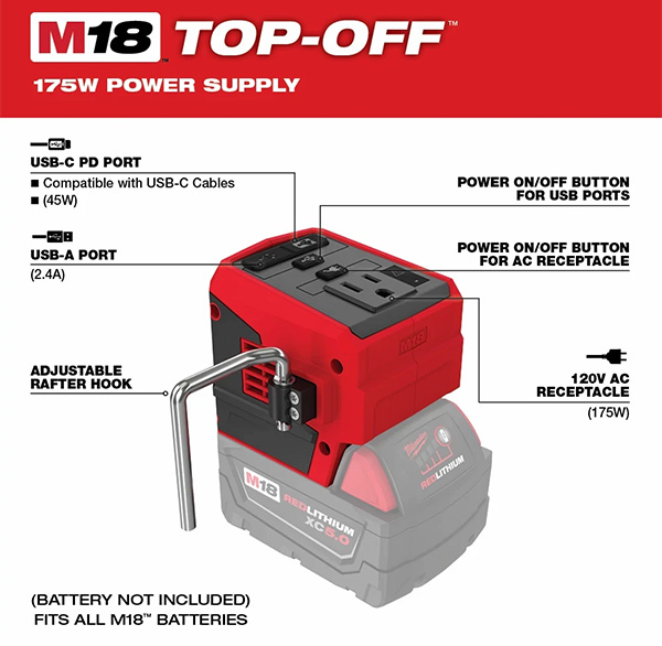 Milwaukee M18 Top-Off 2846-20 USB Power Adapter Features