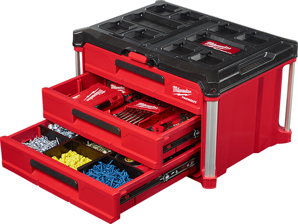 Milwaukee Packout 3-Drawer Tool Box HoldingParts and Accessories