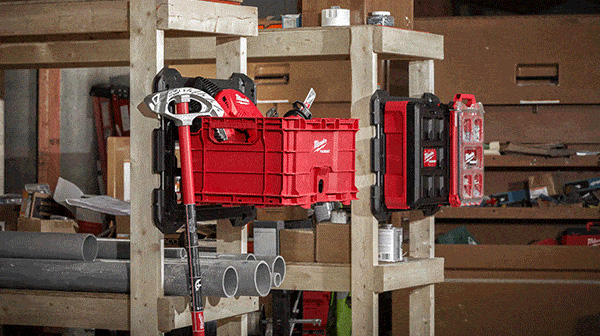 Milwaukee Packout Wall Mount with Organizers and Tote Box