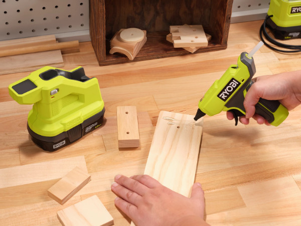 Ryobi 18V One+ Compact Glue Gun in Use Larger Photo