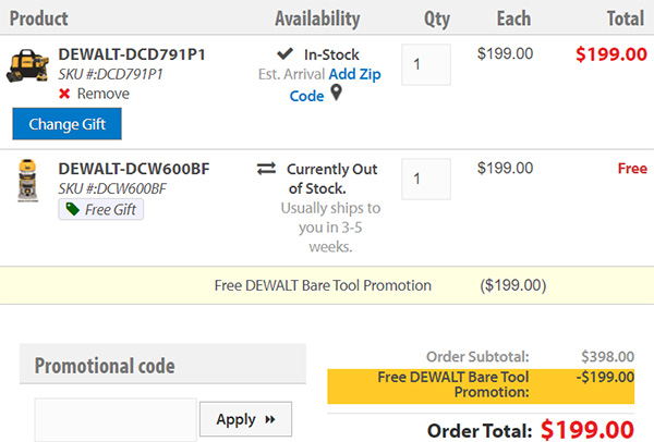 Acme Tool Free Dewalt 20V Max Bonus Tool Selection in Cart Screenshot