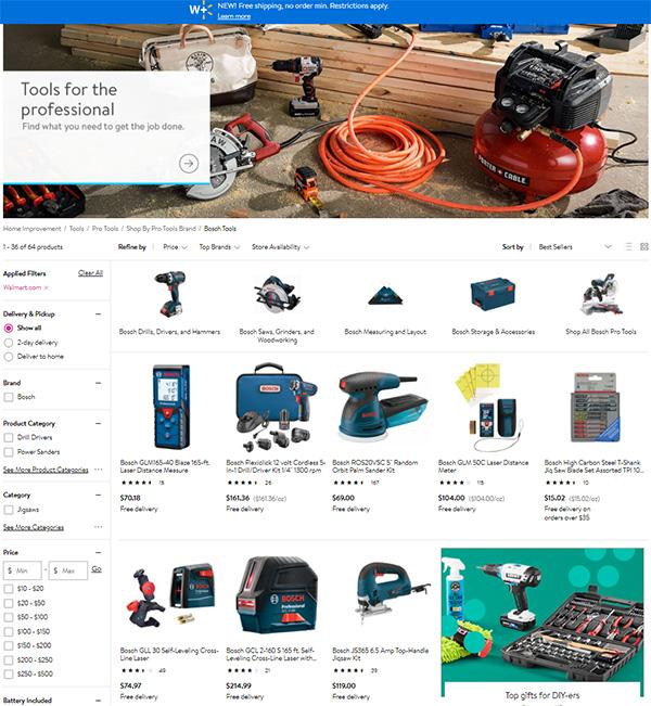 Bosch Tools at Walmart 12-2020