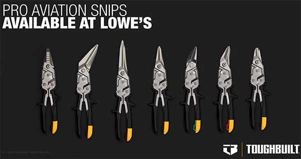 ToughBuilt Straight Aviation Snips Lineup