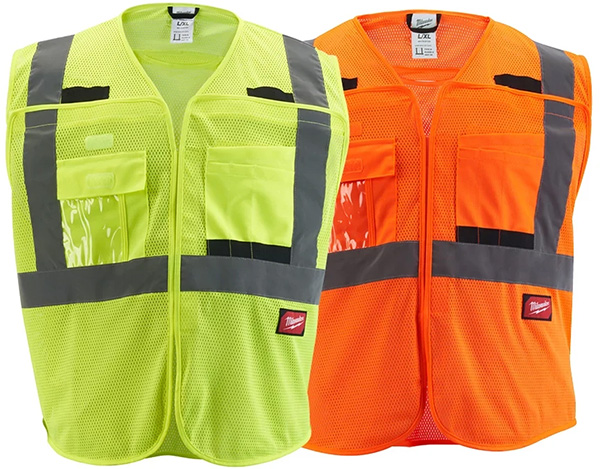 Milwaukee Tool High Visibility Yellow and Orange Breakaway Mesh Safety Vests