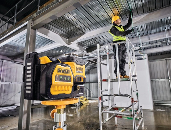 Dewalt DCLE34030G 20V Max 3x360 Green Line Laser Rear Angle at Commercial Jobsite
