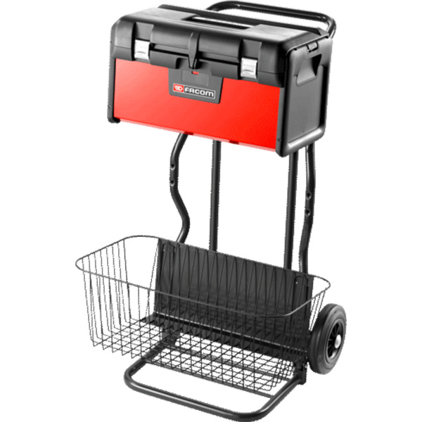 Facom Tool Box on Hand Truck with Wire Basket