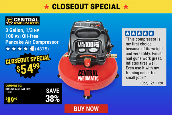 Harbor Freight Air Compressor Closeout Sale Newsletter Image
