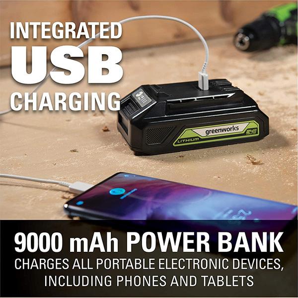 Greenworks 24V Max Battery Power Bank Capacity