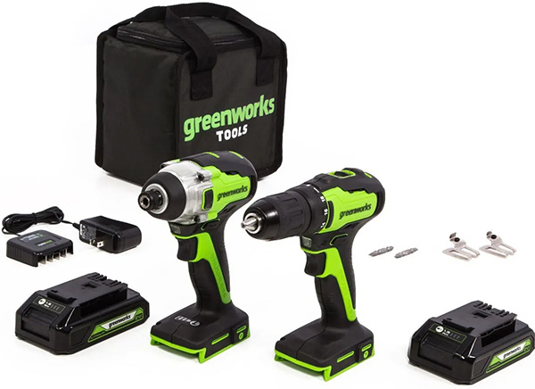 Greenworks 24V Max Cordless Drill and Impact Driver Combo Kit