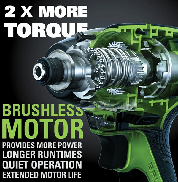 Greenworks 24V Max Cordless Impact Driver Marketing Claims