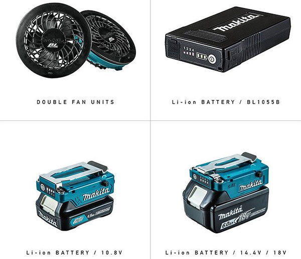 Makita FV214DZ Cordless Fan Vest Battery Options