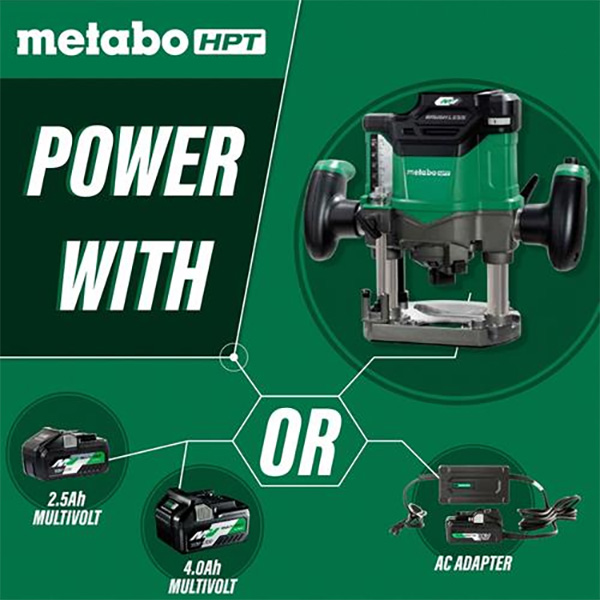 Metabo HPT M3612DA Cordless Router Power Options