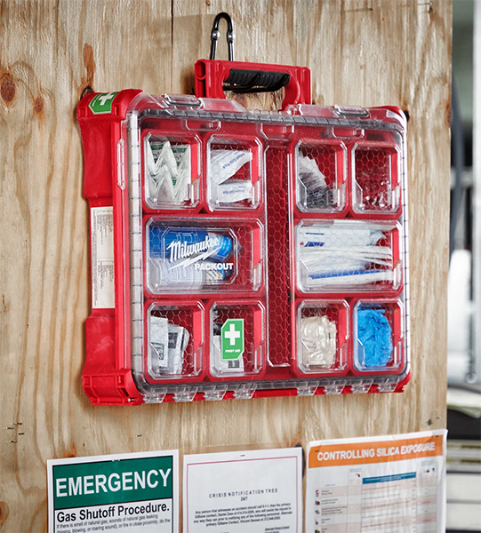 Milwaukee Packout First Aid Kit Large Organizer Mounted to Wall by Handle
