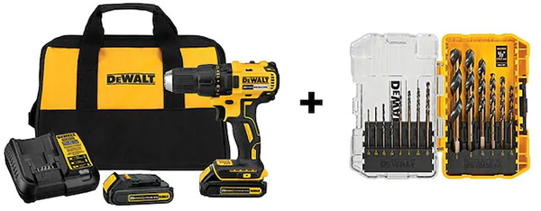 Lowes Dewalt Cordless Drill Kit and Drill Bit Set Deal Bundle Fathers Day 2021