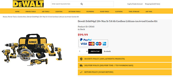 Dewalt Store Scam Cordless Power Tool Combo Kit Listing