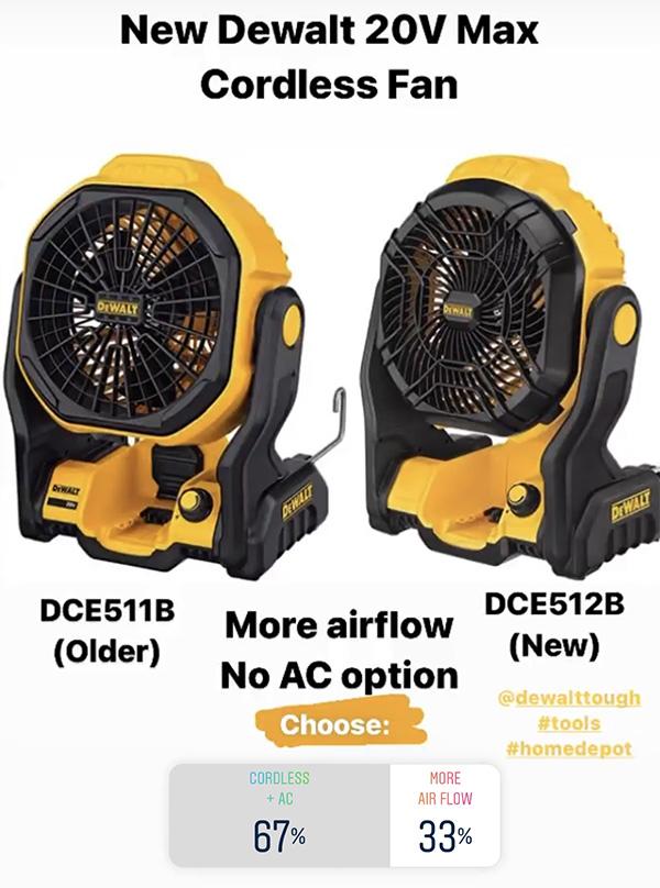 Dewalt Cordless Fan DCE511 vs DCE512 Poll