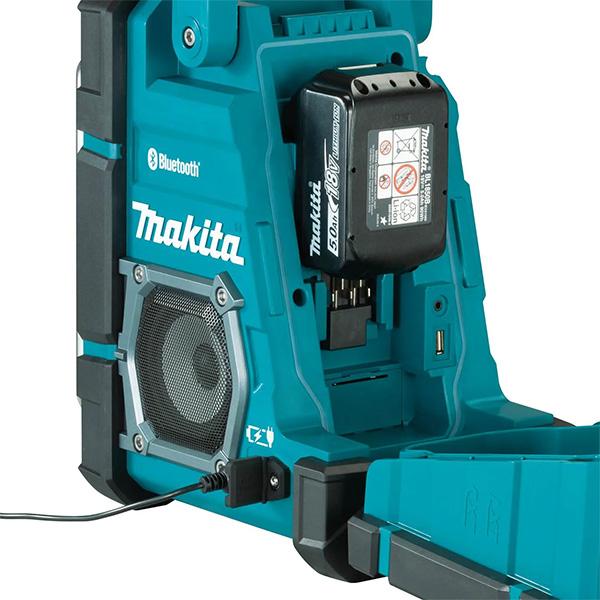 Makita XRM10 Bluetooth Radio and Charger Plugged into AC