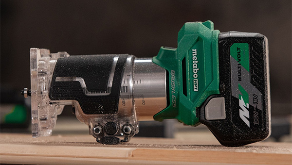 Metabo HPT Cordless Trim Router M1808DAQ4 on its Side